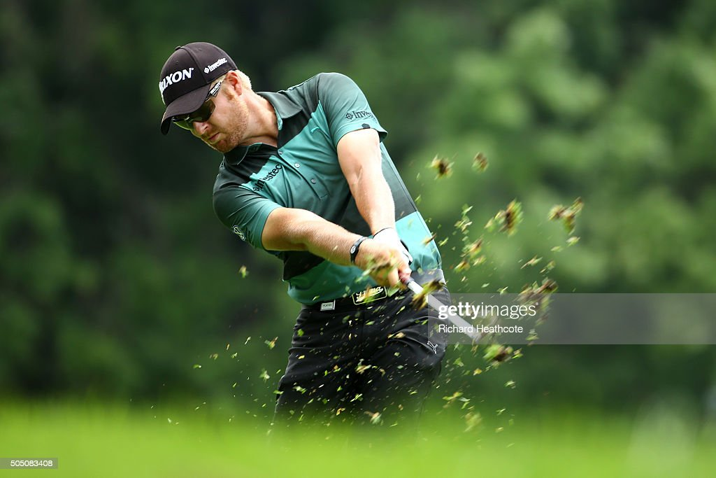 Jacques Blaauw of South Africa plays into the 17th green of the east course during the second round of the Joburg Open at Royal Johannesburg and Kensington Golf Club on January 15, 2016 in Johannesburg, South Africa.