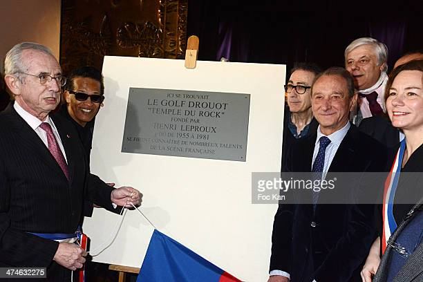 Jacques Bravo Vigon Alain Chamfort Bertrand Delanoe and guests attend the Unveiling of The Plaque 'Golf Drouot' at the Mairie du 9 eme on February 24...