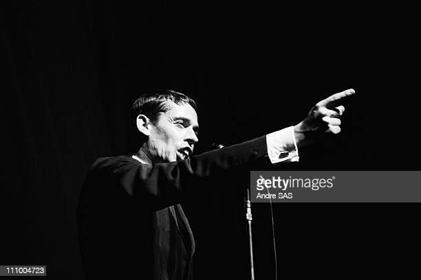 Jacques Brel performs at the Olympia in Paris France in October 1964