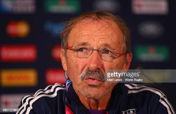 Jacques Brunel Coach of Italy talks to media during a Press conference during the 2015 Rugby World Cup Pool D match between Italy and Canada at...