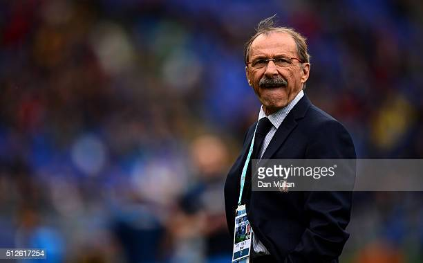 Jacques Brunel Head Coach of Italy looks on prior to the RBS Six Nations match between Italy and Scotland at Stadio Olimpico on February 27 2016 in...