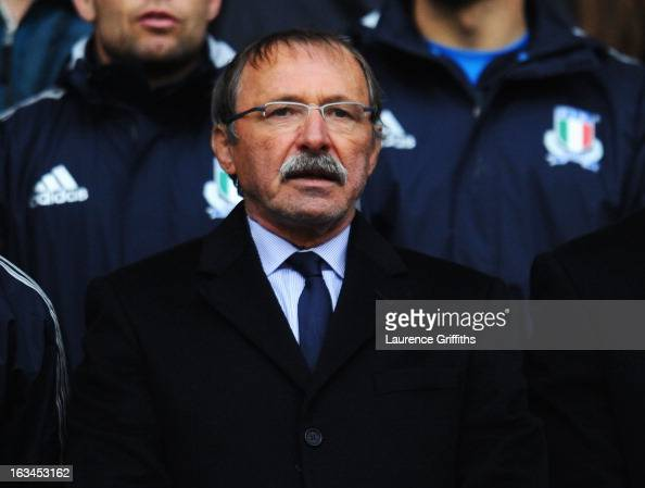 Jacques Brunel head coach of Italy oberserves the national anthem during the RBS Six Nations match England and Italy at Twickenham Stadium on March...