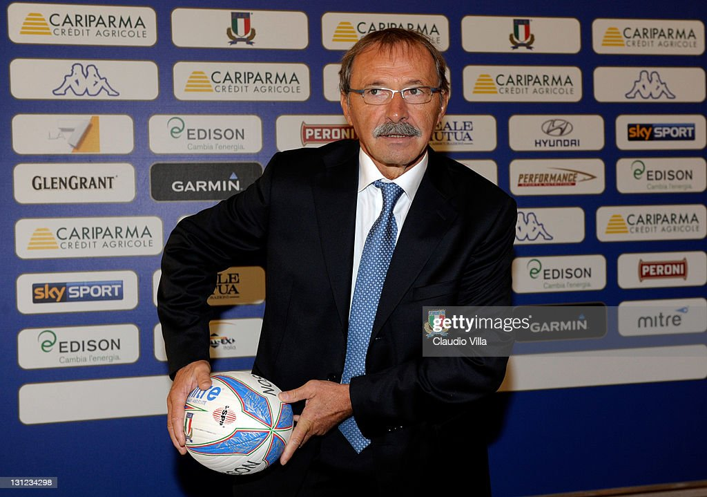 <a gi-track='captionPersonalityLinkClicked' href=/galleries/search?phrase=Jacques+Brunel&family=editorial&specificpeople=557558 ng-click='$event.stopPropagation()'>Jacques Brunel</a> poses as the Italian Rugby Federation unveils him as its new coach on November 3, 2011 in Bologna, Italy.
