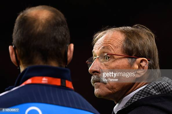 Jacques Brunel the head coach of Italy looks on prior to kickoff during the RBS Six Nations match between Wales and Italy at the Principality Stadium...