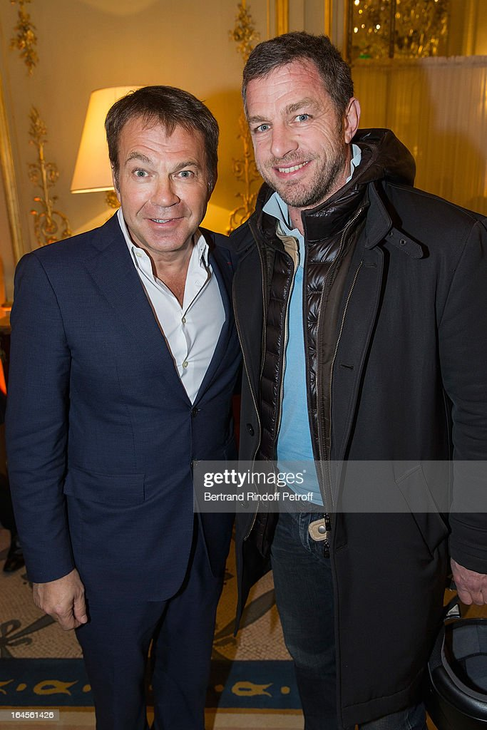 Jacques Bungert, CEO Courreges (R), and Dr Bertrand Matteoli attend the benefit party in aid of the 'Chirurgie Plus' (AC+) association at Hotel Meurice on March 24, 2013 in Paris, France.