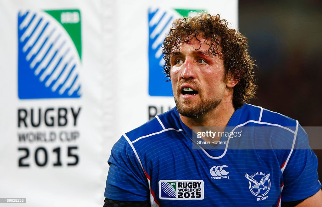 Jacques Burger of Namibia looks on during the 2015 Rugby World Cup Pool C match between New Zealand and Namibia at the Olympic Stadium on September...