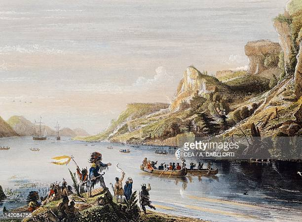 Jacques Cartier carries his expedition up the San Lorenzo River in Canada engraving