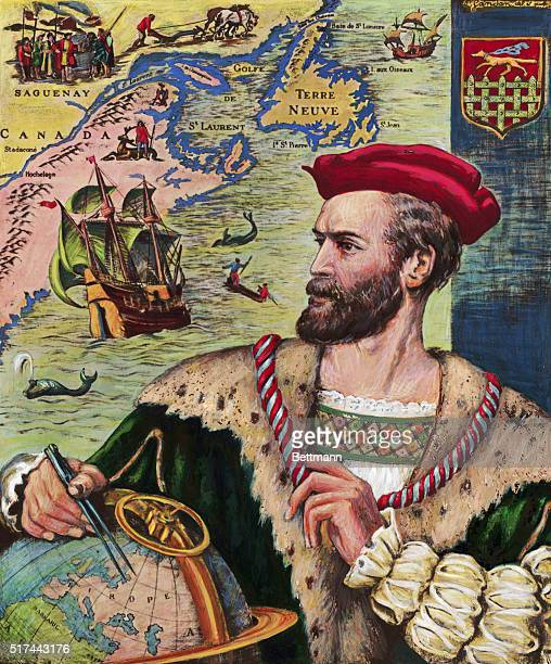 Jacques Cartier French sailor and explorer who laid claim to the St Lawrence River area for France The illustration depicts him with a globe in the...