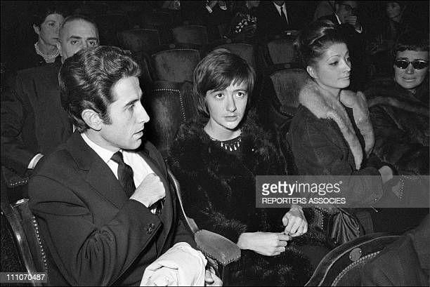 Jacques Chazot and Francoise Sagan at the recital of YMontand in Paris France on November 14 1962