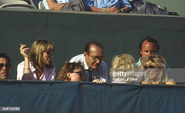 Jacques Chirac and his daughter Claude Chirac at the Roland Garros tennis tournament Paris June 1985