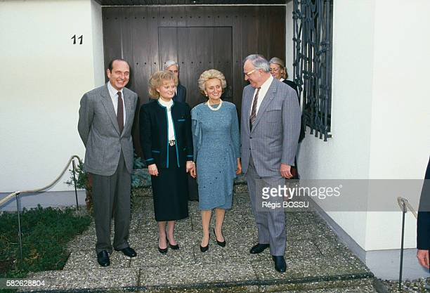 Jacques Chirac and his wife Bernadette meet with German Chancellor Helmut Kohl and his wife Hannelore during a private visit to West Germany