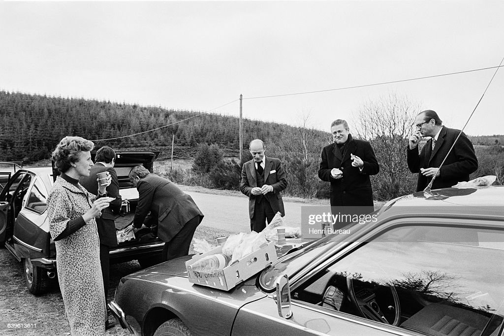 Jacques Chirac and his wife Bernadette stop for a roadside picnic in Correze during his campaign for parliamentary elections.