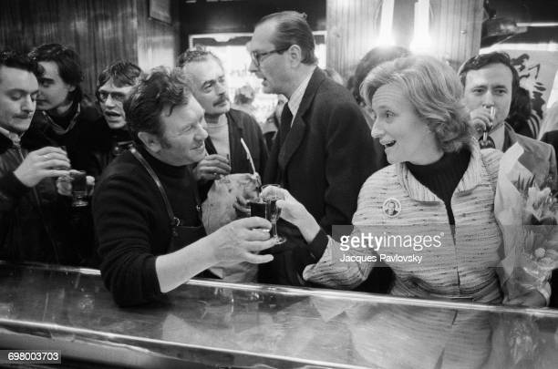 Jacques Chirac and his wife Bernadette visiting a cafe during his campaign to be elected Mayor of Paris France 24th February 1977