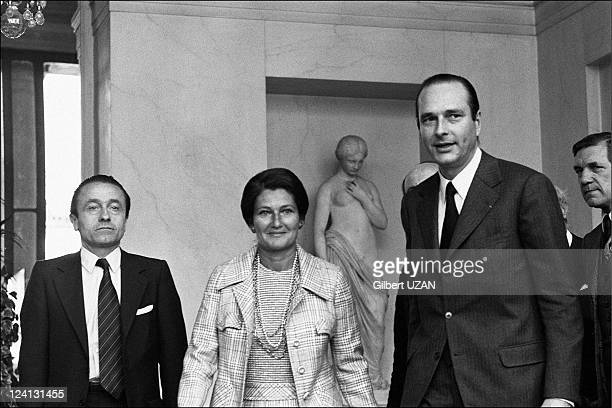 Jacques Chirac and Simone Veil leaving the council of ministers in Paris France on June 05 1974