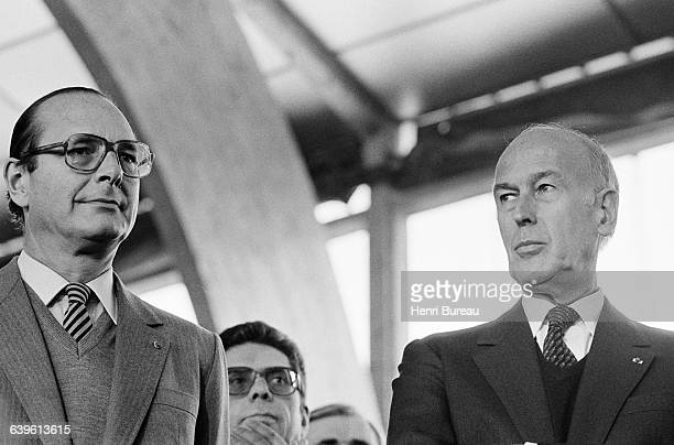 Jacques Chirac and Valery Giscard D'Estaing during a ceremony for the tenth anniversary of the death of President Georges Pompidou | Location St...