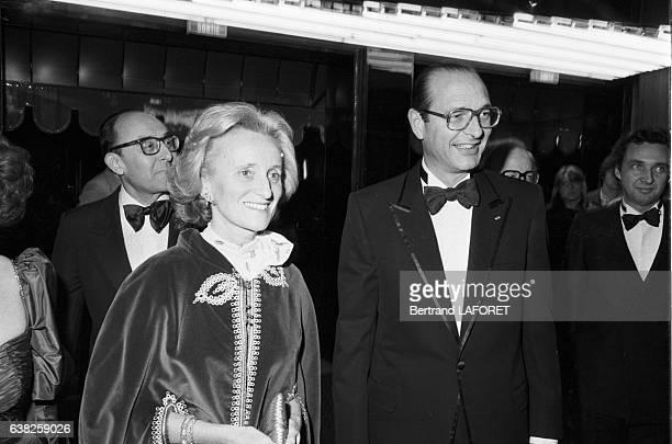 Jacques Chirac et sa femme Bernadette à l'anniversaire des 50 ans de carrière de Loulou Gasté au Paradis Latin à Paris France le 22 mars 1983