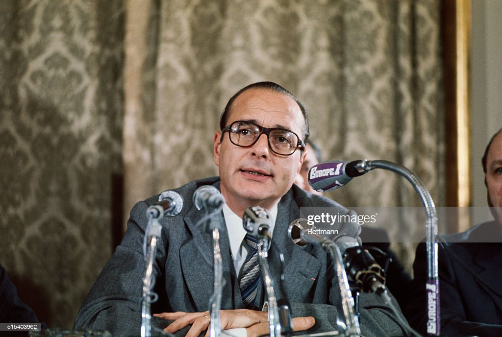 Jacques Chirac former French Prime Minister is shown here in this closeup at a news conference