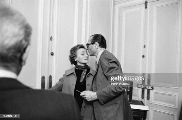 Jacques Chirac greeting his wife Bernadette with a kiss Paris France 20th March 1977