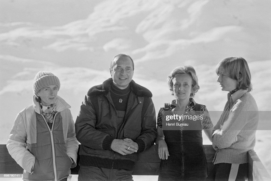 Jacques Chirac, his wife Bernadette and their daughters Claude (right) and Laurence, on the balcony of their small rented flat in Les Menuires, France, 26th December 1976.