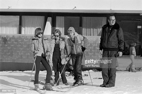 Jacques Chirac his wife Bernadette and their daughters Claude and Laurence prepare to go skiing in Les Menuires France 26th December 1976