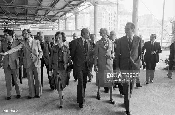 Jacques Chirac his wife Bernadette Chirac and Mrs Claude Pompidou visiting the construction site of the future Pompidou Centre in the company of...
