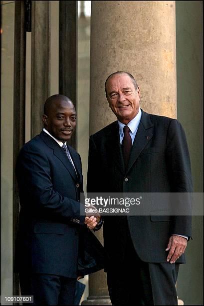 Jacques Chirac Meets Joseph Kabila At The Elysee Palace On September 9Th 2002 In Paris France