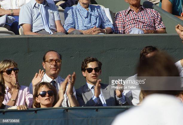Jacques Chirac Nicolas Sarkosy and Claude Chirac the daughter of Jacques Chirac at the Roland Garros tennis tournament Paris June 1985