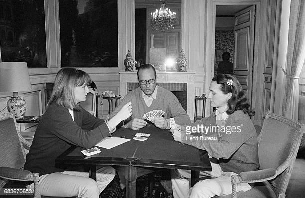 Jacques Chirac playing cards with his two daughters Claude and Laurence in Paris City Hall 22nd March 1981