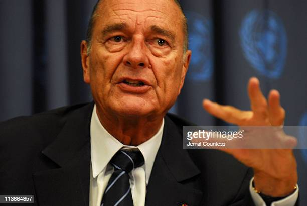 Jacques Chirac President of France addresses media at a press conference during the 61st General Assembly at the United Nations on September 19 2006...