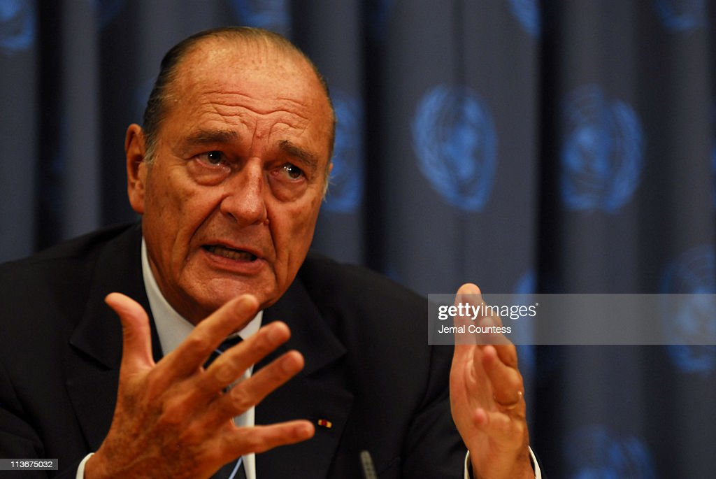 Jacques Chirac, President of France addresses media at a press conference during the 61st General Assembly at the United Nations on September 19, 2006 in New York City