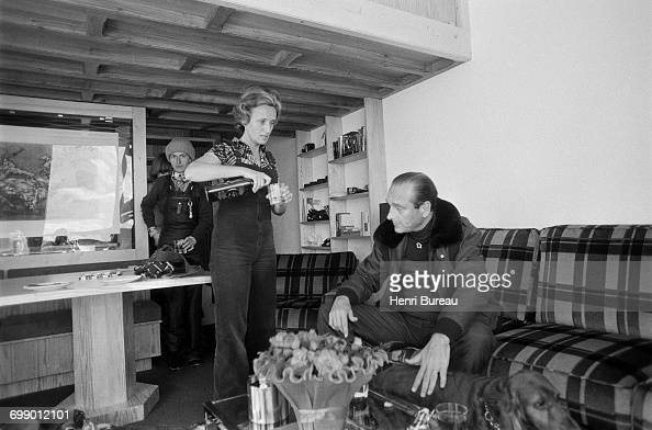 Jacques Chirac President of the Rassemblement pour la République party and his wife Bernadette at their small rented flat in Les Menuires France...