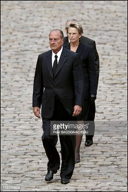 Jacques Chirac presides funeral ceremony for Colonel Rol Tanguy at the Invalides in Paris France on September 12 2002 Jacques Chirac and Michele...