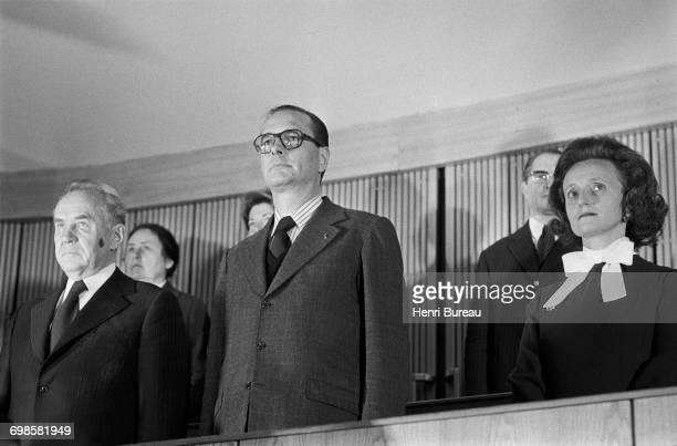 Jacques Chirac the French Prime Minister and his wife Bernadette Chirac attending an event with Soviet statesman Alexei Kosygin in Moscow Russia 21st...