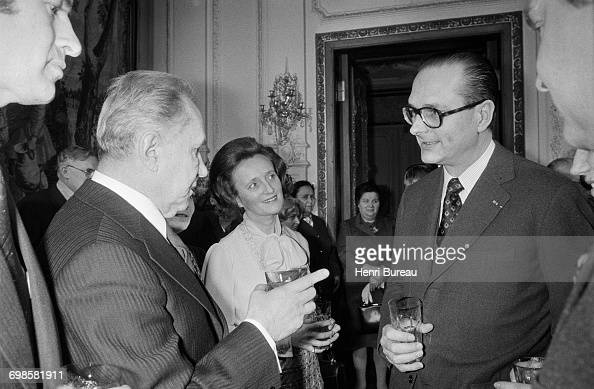 Jacques Chirac the French Prime Minister and his wife Bernadette Chirac talking with Soviet statesman Alexei Kosygin in Moscow Russia 21st March 1975