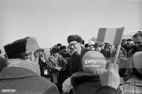 Jacques Chirac the French Prime Minister shaking hands with people in Siberia during his Russian tour Russia 24th March 1975