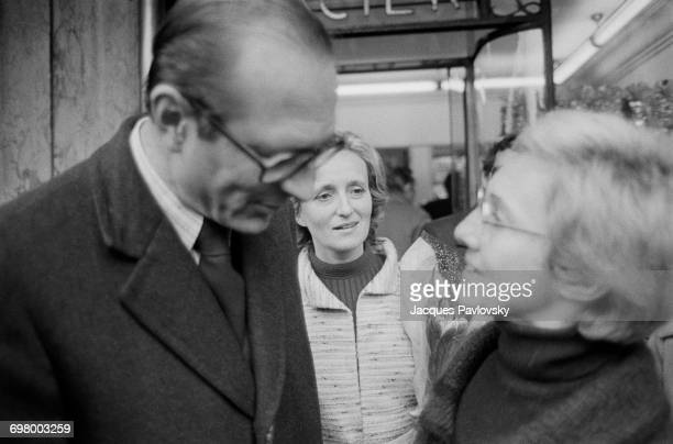 Jacques Chirac visiting a market in Place Maubert during his campaign to be elected Mayor of Paris France 24th February 1977 With him is his wife...