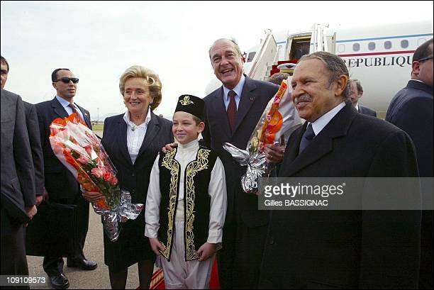 Jacques Chirac Visits Algeria Arrival At The Airport Of Algiers On March 2Nd 2003 In Algiers Algeria Left To Right Bernadette Chirac Jacques Chirac...