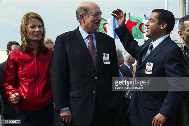 Jacques Chirac Visits Algeria Arrival At The Airport Of Algiers On March 2Nd 2003 In Algiers Algeria Left To Right Nicole Garcia Herve Bourges And...