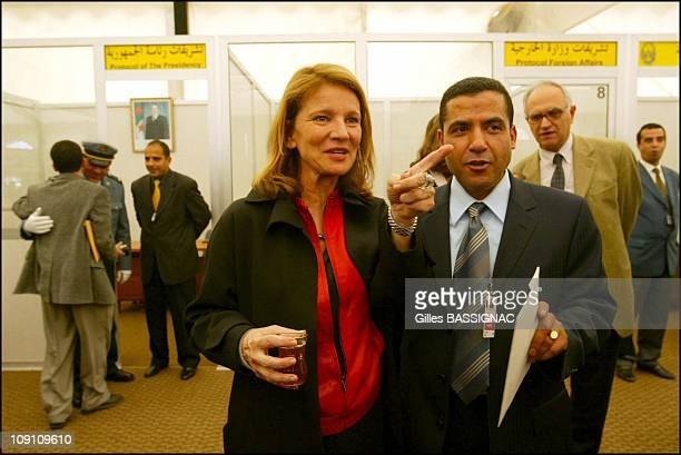 Jacques Chirac Visits Algeria Arrival At The Airport Of Algiers On March 2Nd 2003 In Algiers Algeria Nicole Garcia And Cheb Mami