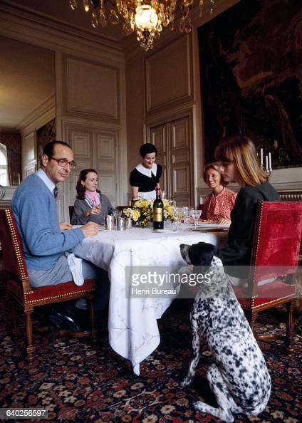 Jacques Chirac with his wife Bernadette and their two daughters Laurence and Claude having lunch in their Paris City Hall apartment served by their...