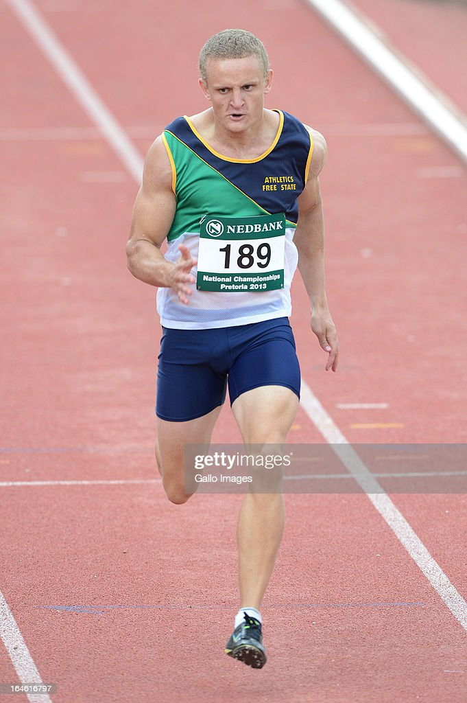 Jacques de Bruyn of Free State wins the 200m during day 3 of The Nedbank National Championships for the Physically Disabled (Athletics) at LC de Villiers Stadium on March 25, 2013 in Pretoria, South Africa.