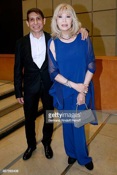 Jacques Dermi and Amanda Lear attend the 'Societe des Amis du Musee D'Orsay' Dinner Party at Musee d'Orsay on March 23 2015 in Paris France