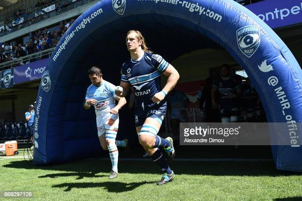 Jacques Du Plessis of Montpellier during the Top 14 match between Montpellier and Bayonne on April 16 2017 in Montpellier France