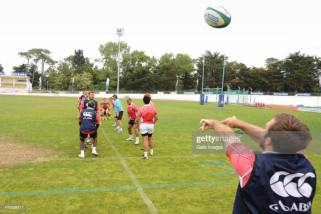 D' OLONNE, FRANCE - JUNE 11: (SOUTH AFRICA OUT) Jacques Du Toit throws the ball in the line out during the South African U/20 training session at Stade les Sables d' Olonne on June 11, 2013 in les Sables d' Olonne, France.