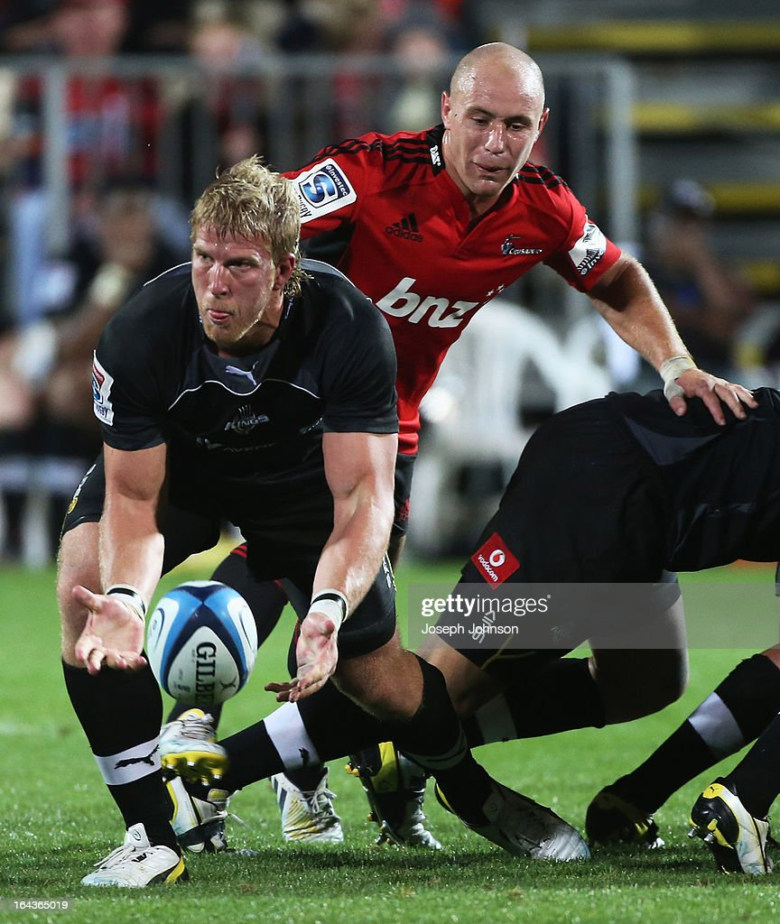 Jacques Engelbrecht of the Kings passes the ball from the back of the scrum during the round six Super Rugby match between the Crusaders and the Kings at AMI Stadium on March 23, 2013 in Christchurch, New Zealand.