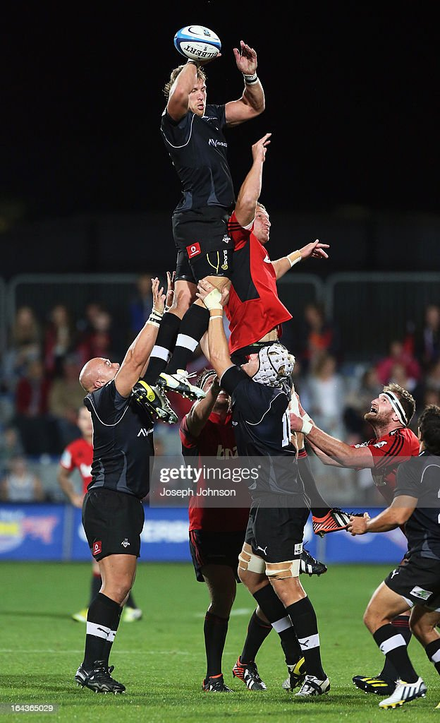 Jacques Engelbrecht of the Kings wins a lineout with Dominic Bird of the Crusaders competing during the round six Super Rugby match between the Crusaders and the Kings at AMI Stadium on March 23, 2013 in Christchurch, New Zealand.