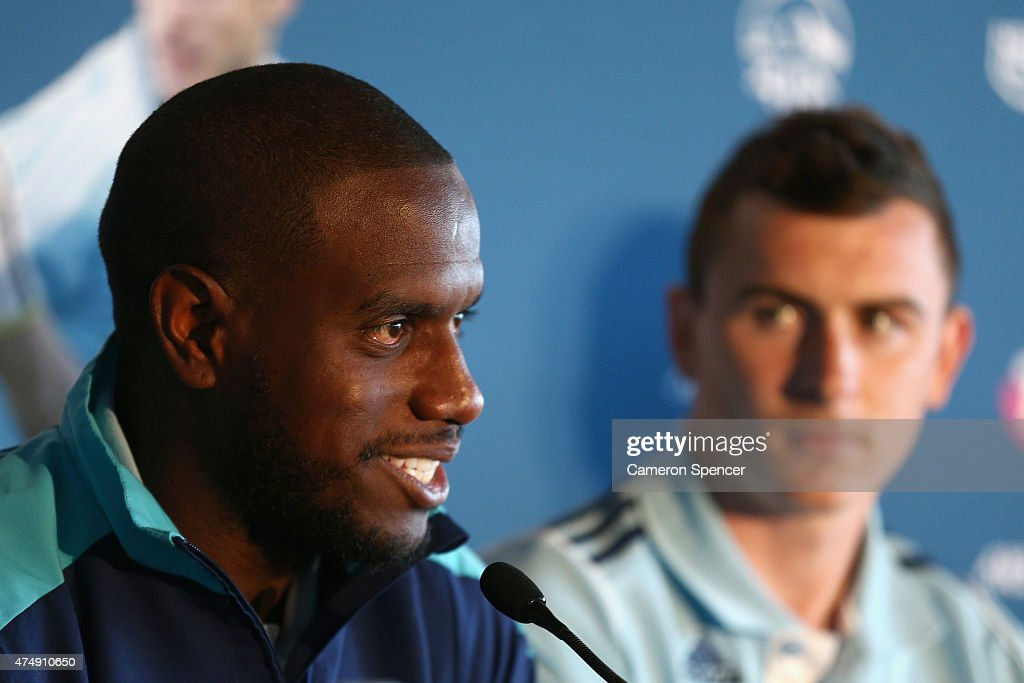 Jacques Faty of Sydney FC talks during a Tottenham Hotspur Official Arrival Media Conference at Overseas Passenger Terminal on May 28, 2015 in Sydney, Australia. Hotspur are playing Sydney FC in Sydney on Saturday, May 30th, 2015.