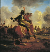 Jacques Francois Joseph Swebach Charging French Hussar