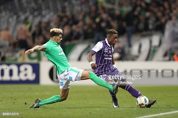 Jacques Francois Moubandje of Toulouse and Kevin Malcuit of Saint Etienne during the French Ligue 1 match between Toulouse and Saint Etienne at...