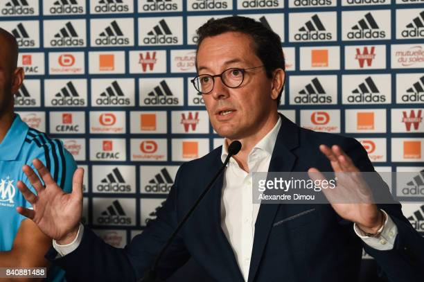 Jacques Henri Eyreaud President of Marseille during press conference on August 30 2017 in Marseille France